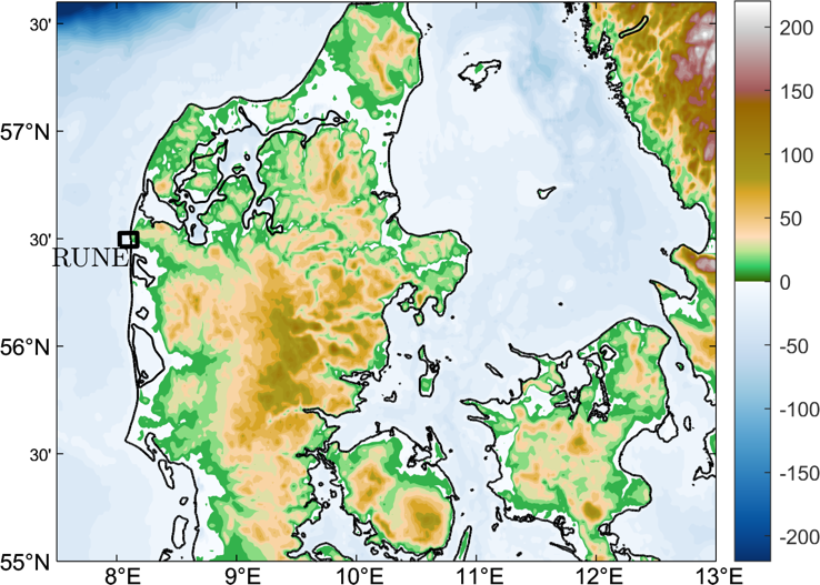Fig. 1: The location of the site to collect wind data (black rectangle) in Denmark.
